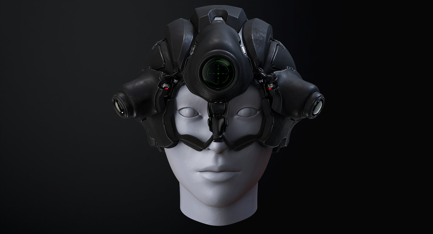 3d model sci-fi helmet rig 2