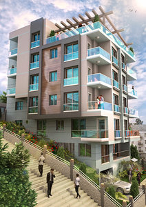 modern apartment penthouse house 3d model