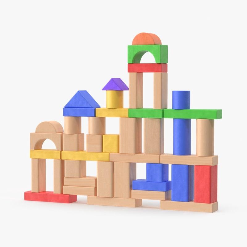 building blocks tall wall 3d max
