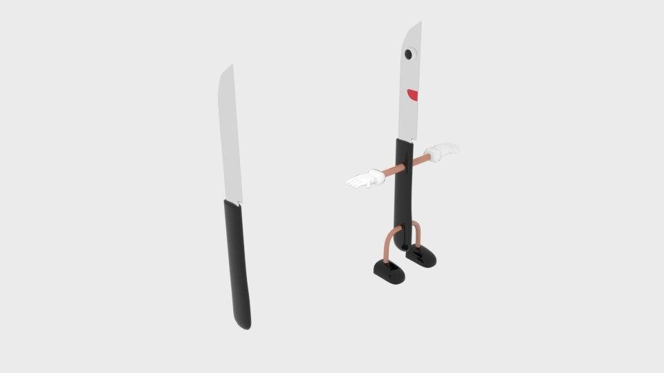 3d cartoon knife character