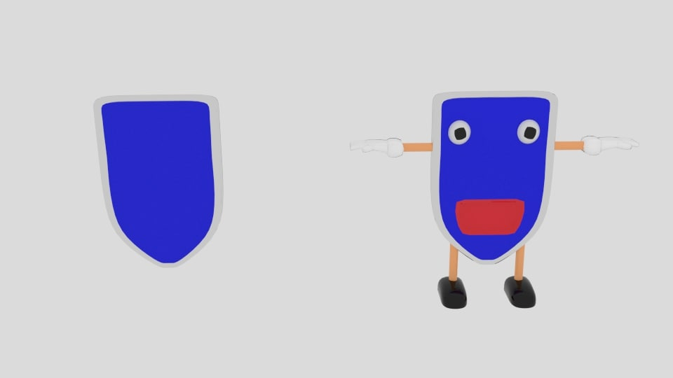 3d model cartoon shield character