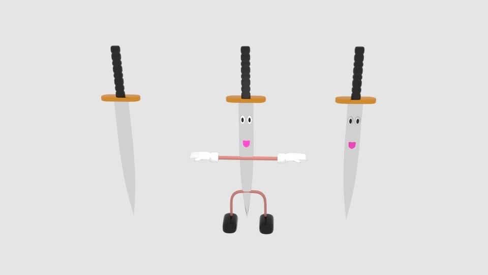 3d cartoon sword upside character