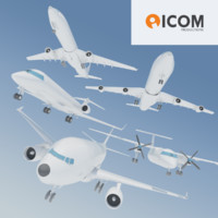 Five Airplanes Collection low-poly