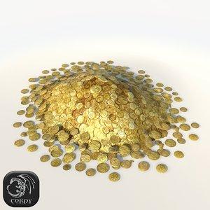 3d model pile gold coins