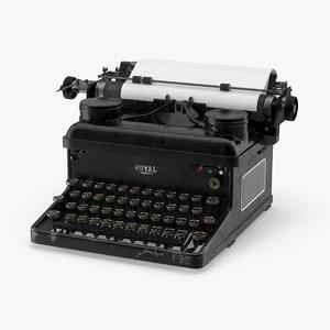 vintage royal typewriter 3d model