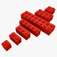 3d model realistic lego bricks set