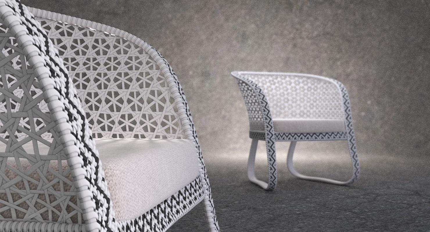 3d model rattan lounge arm chair