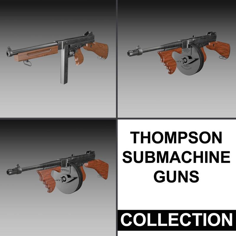 3d model thompson submachine gun -