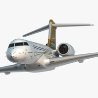 3d bombardier global 6000 rigged model