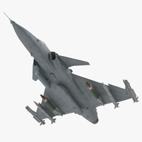 Fighter Aircraft Saab JAS 39 Gripen Rigged