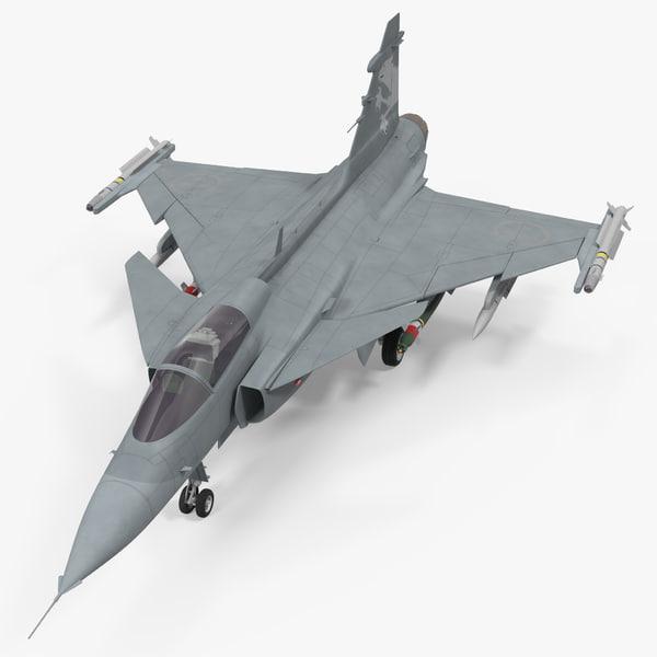 fighter aircraft saab jas 39 3d 3ds