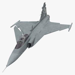 fighter aircraft saab jas 39 3d max