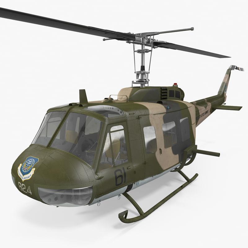 bell uh-1 iroquois camo 3d model