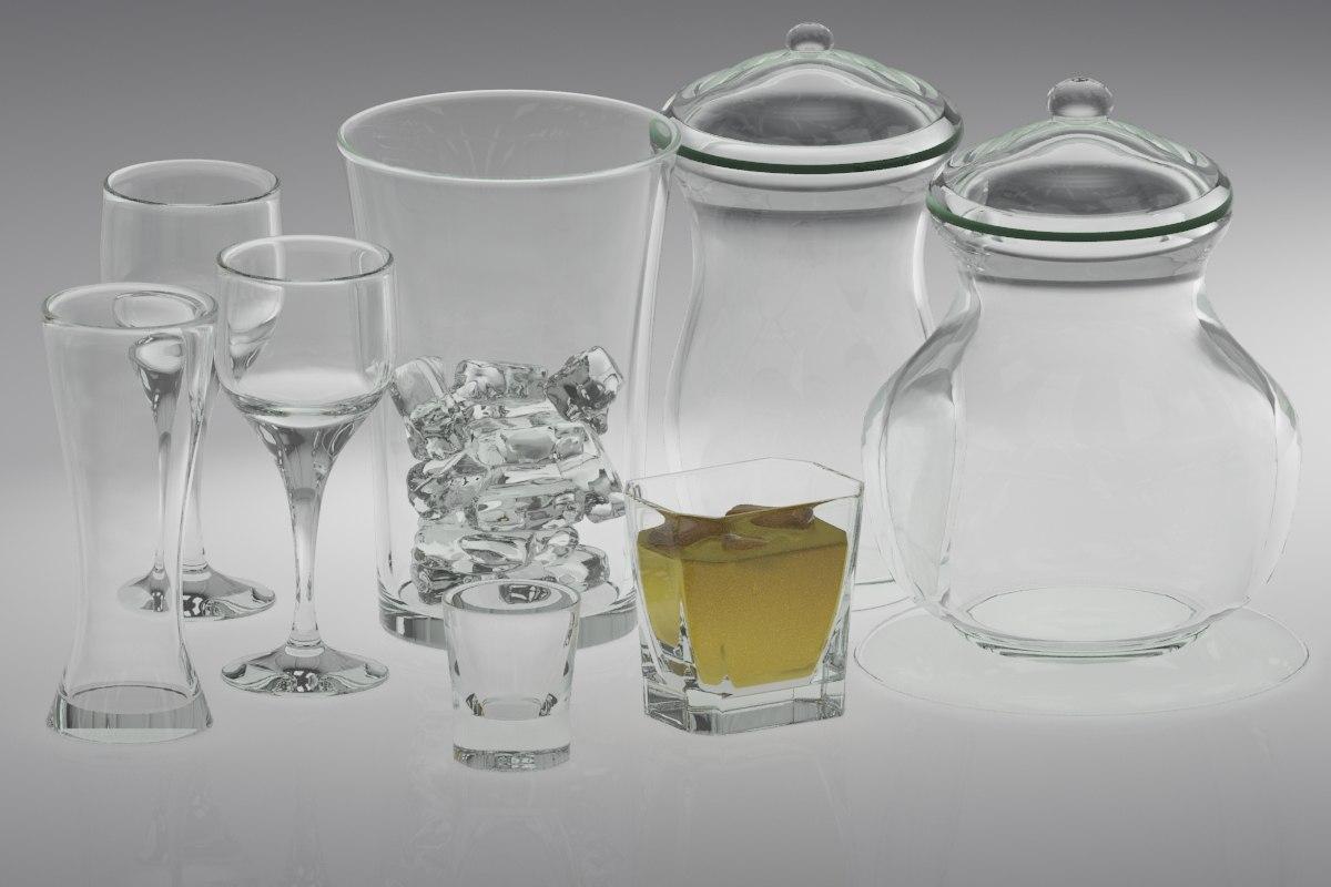 3d glassware set glass