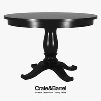 realistic avalon extension dining table 3d model
