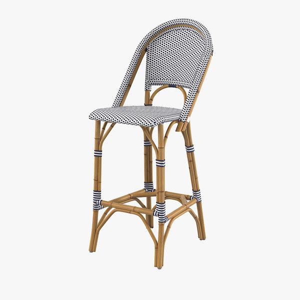 riviera barstool stool 3d model