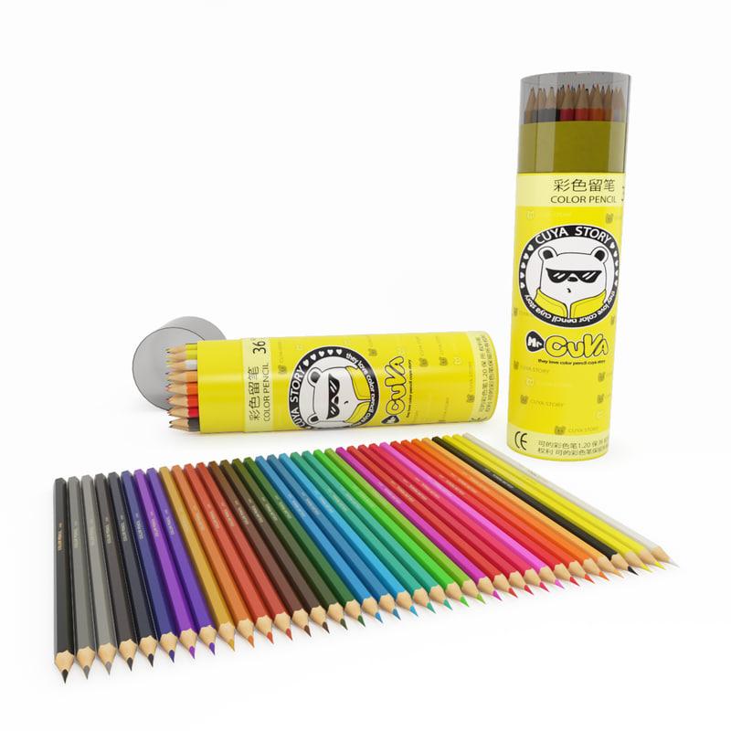 colored pencils 3d model
