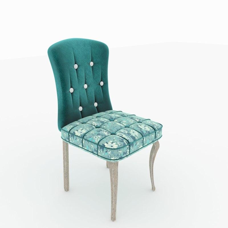 3d max floral chair