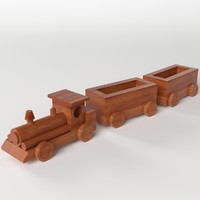 wooden train toy 3d 3ds