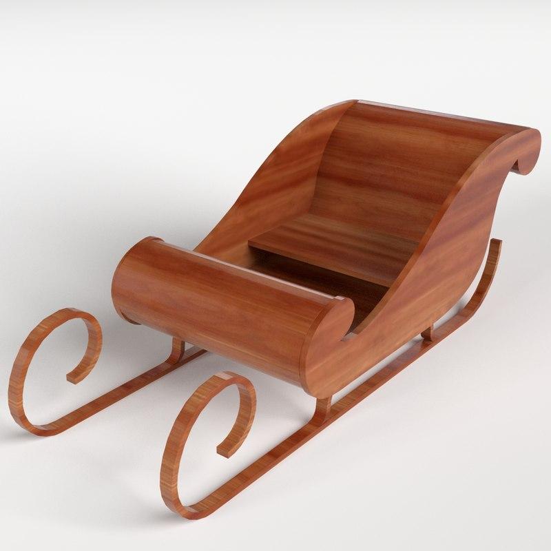 wooden sledding 3d model