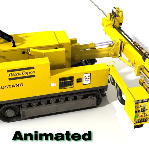 3d model of mining rock drill
