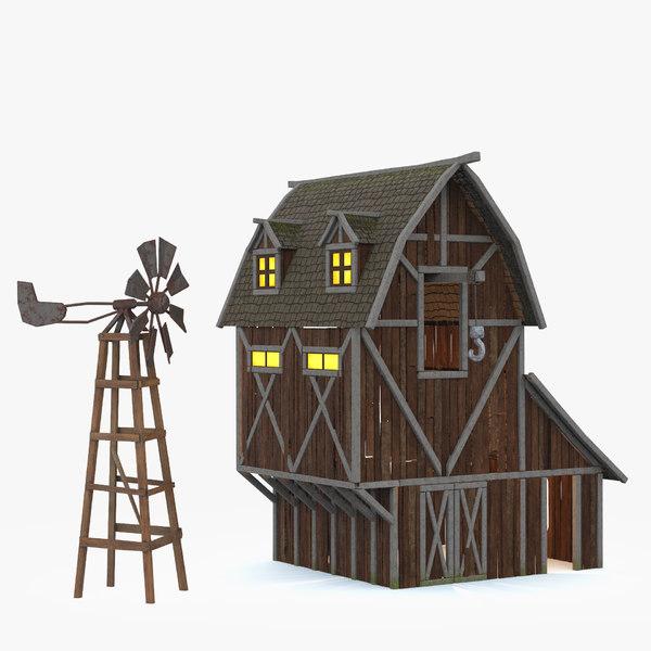 3d barn windmill