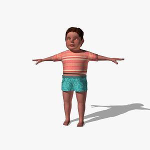 boy character 3d obj