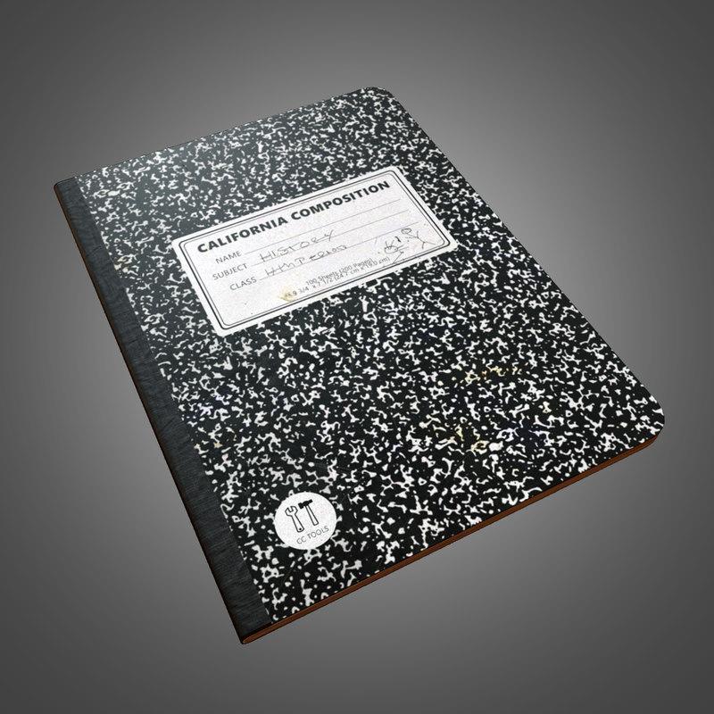 3d composition notebook - pbr model