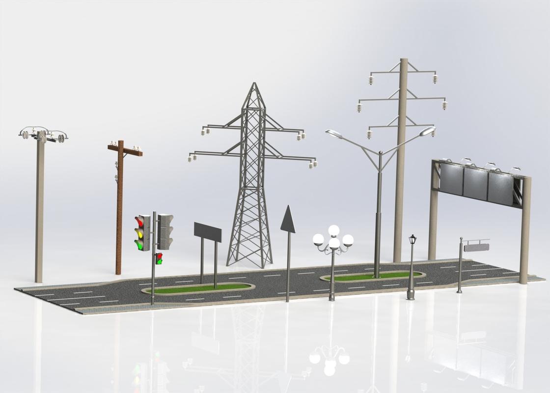 3d model streetlight column