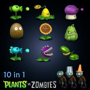3d model zombie plants