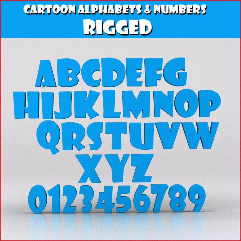 3d obj cartoon numbers