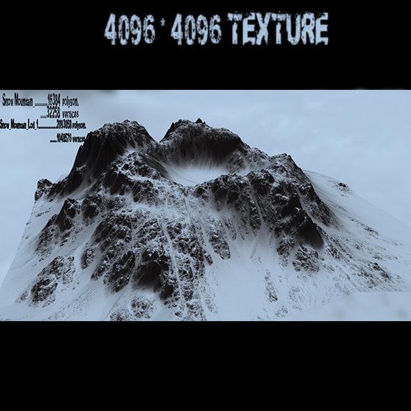 3d model snow wolkan