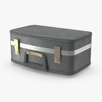 3d old suitcase small closed