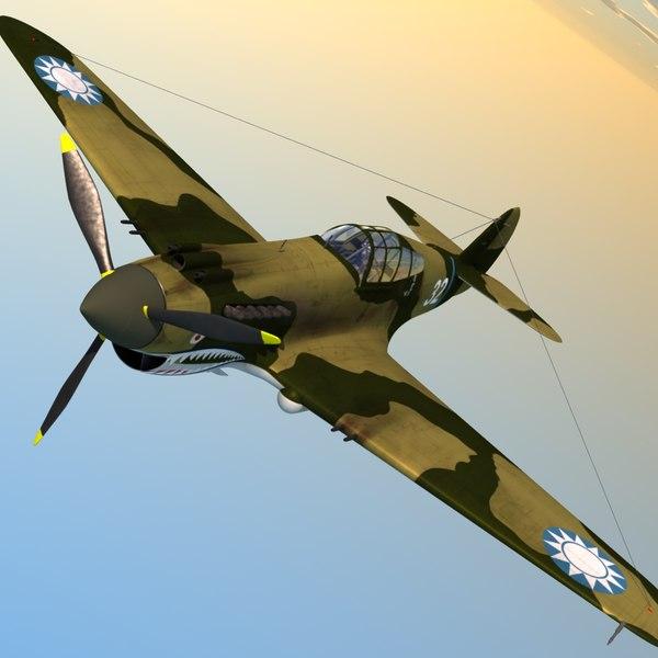 3d max p-40 warhawk fighter aircraft