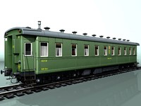 3d 6-axle passenger railcar model