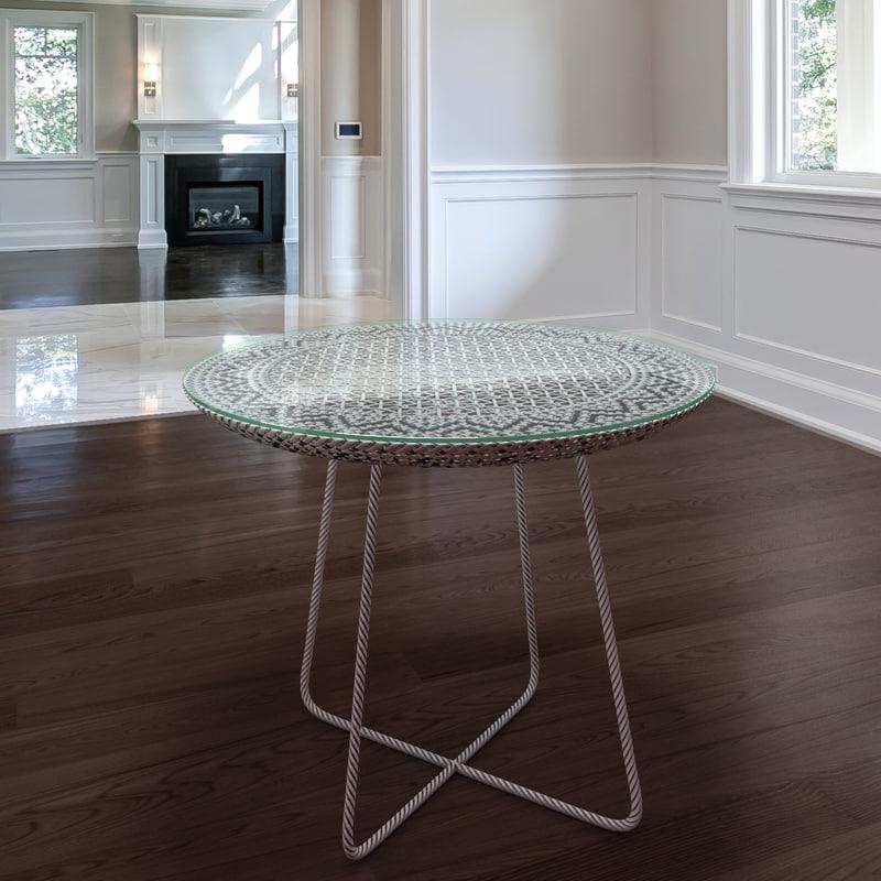 table rattan 3d max