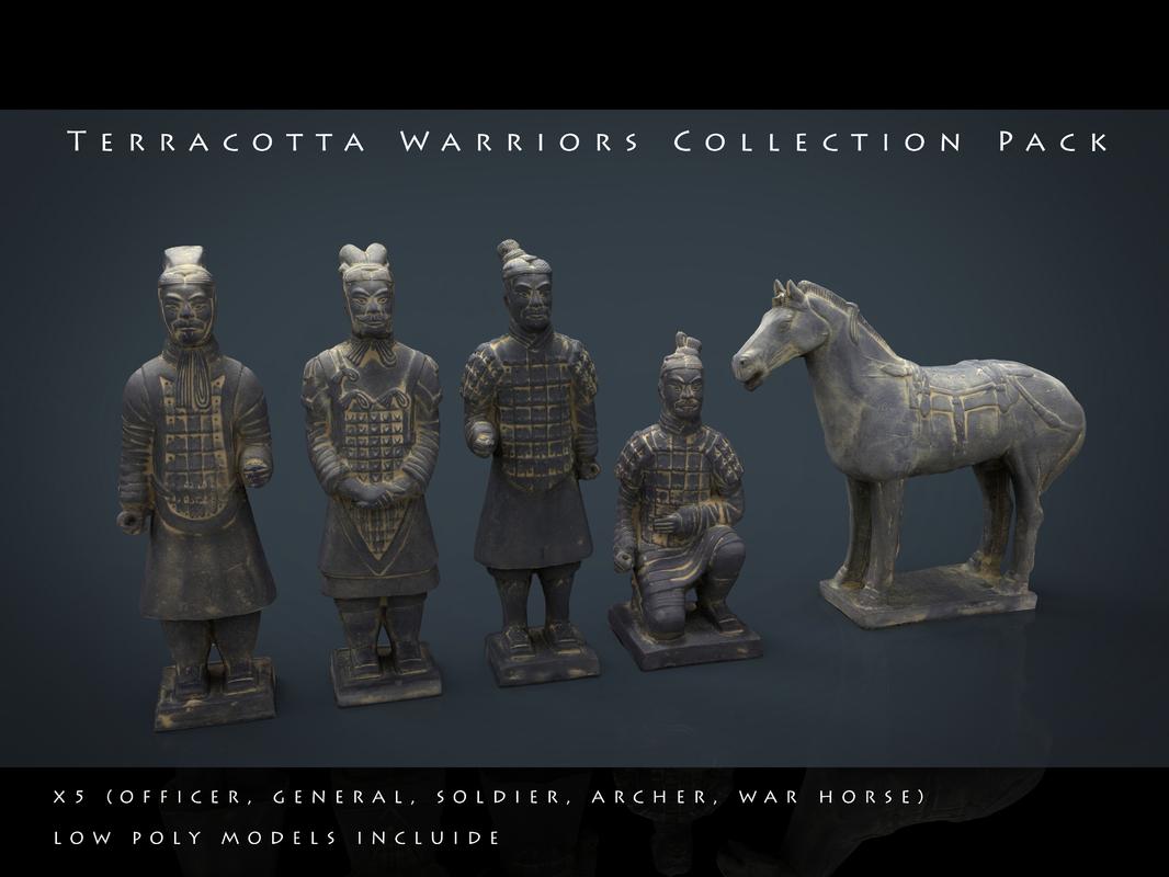 3d model terracotta warriors pack war