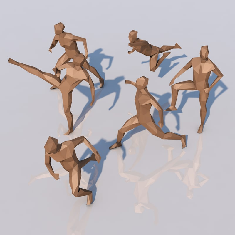 3d different low-poly humans fighting model