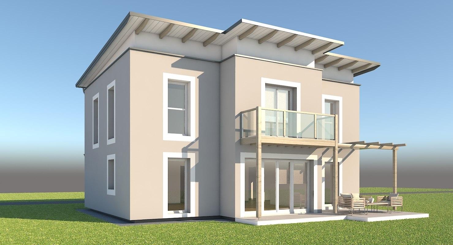 modern family home 3d model