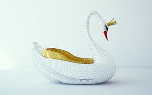 carousel swan 3d c4d