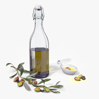 olive oil bottle type1 3d model