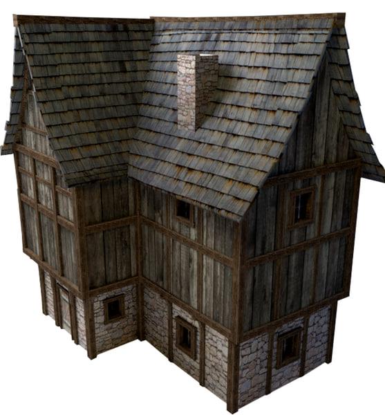 3d large medieval house model