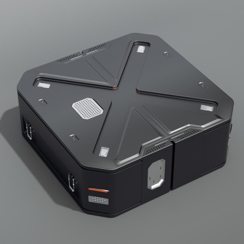 sci-fi crate 3d obj