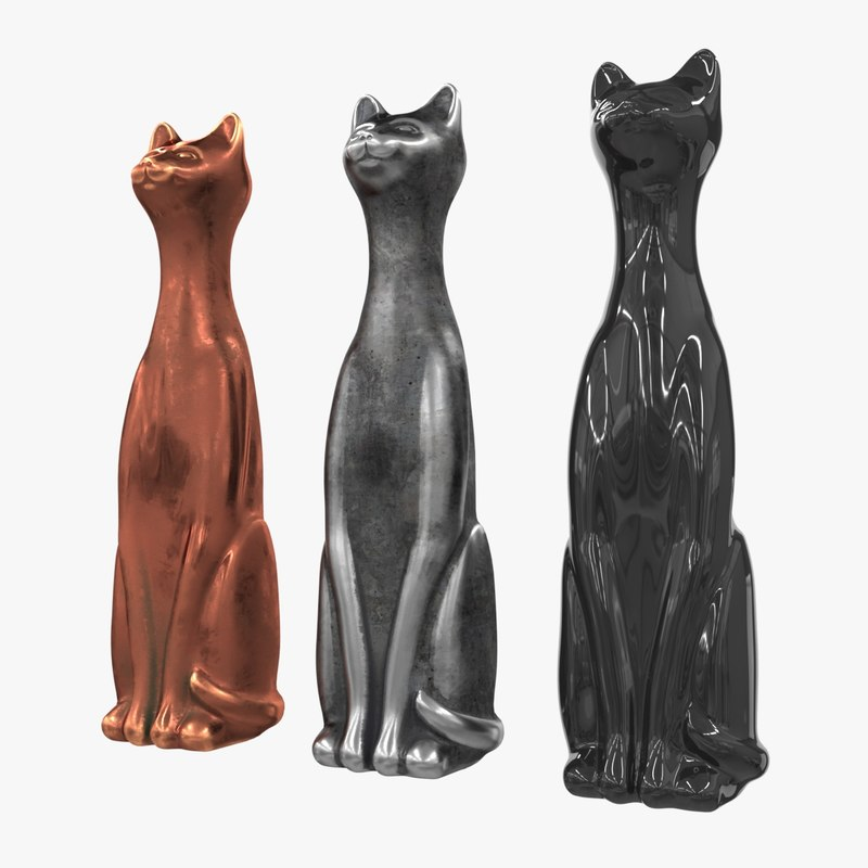 3d model figurine cat metal plastic