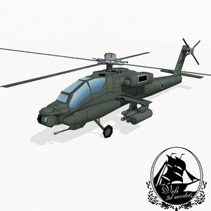 3d ah-64 apache attack helicopter model