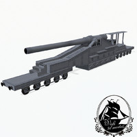 3d railway gun model