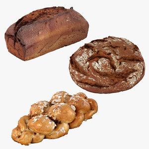 3d model loafs bread