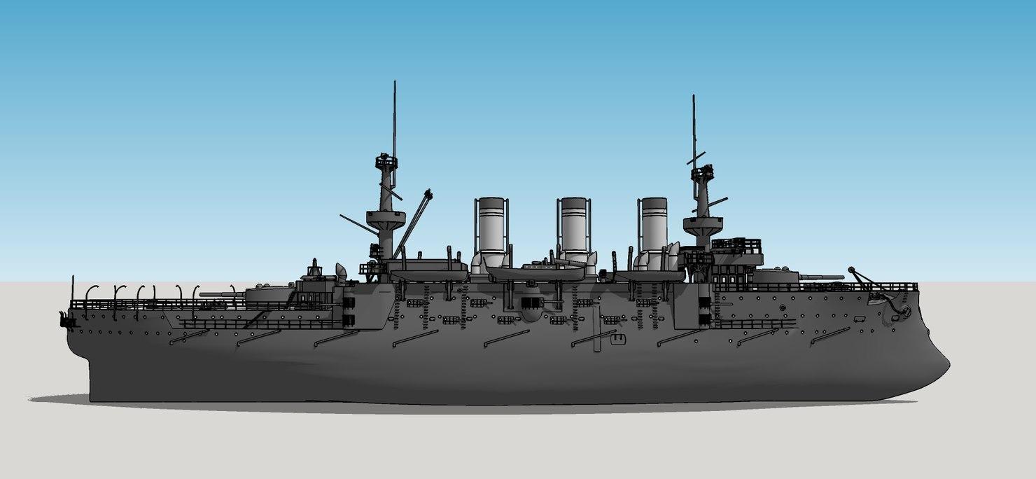 3d model peresvet ship battleships imperial