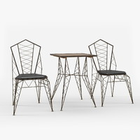 Zuo Modern Contemporary Heavy Metal Chair and Bistro Table