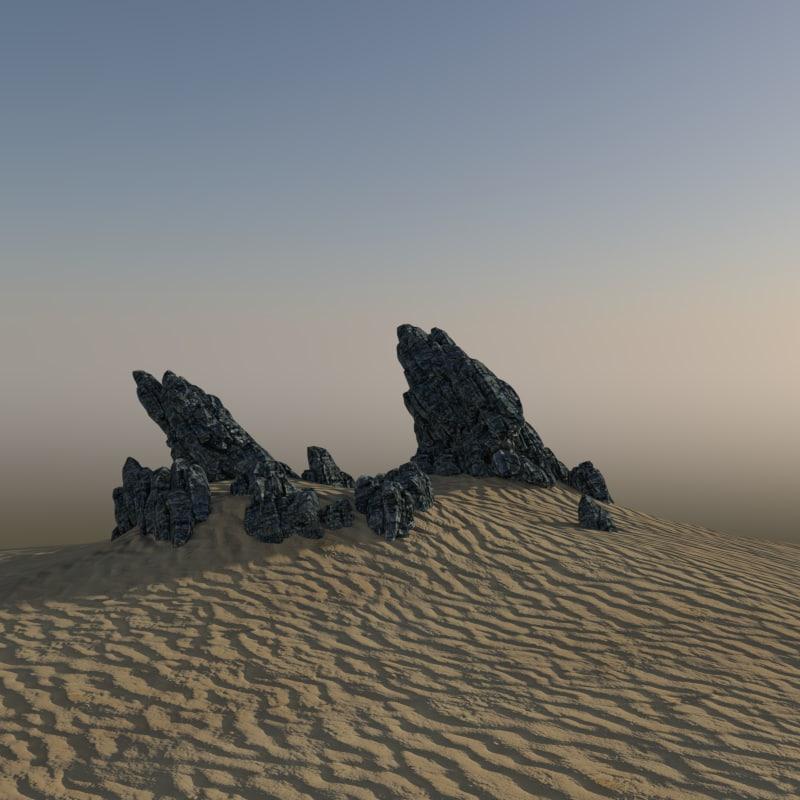 3d alien rock